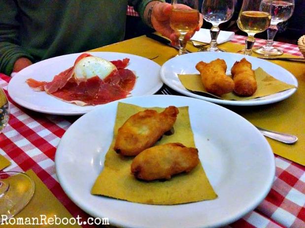 Fried cod, fiori di zucca, and mozzarella con prosciutto