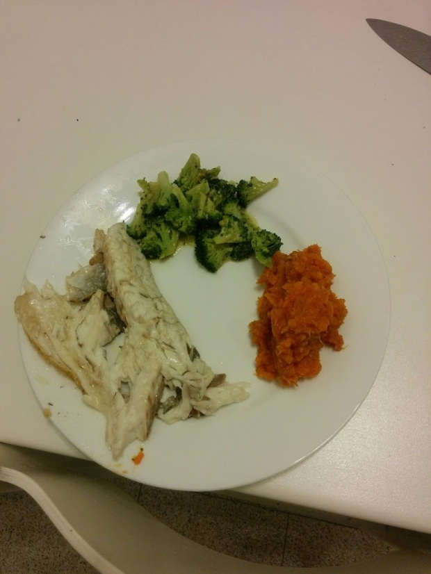 "I cooked a whole fish!  Eaten with mashed sweet potatoes and steamed broccoli that was topped with mayo fail ""sauce"""