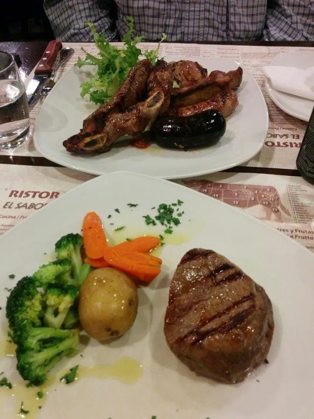 Date night!  Steak and veggies.
