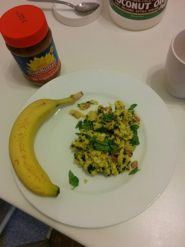 Egg scramble with bacon and spinach, banana with Sunbutter