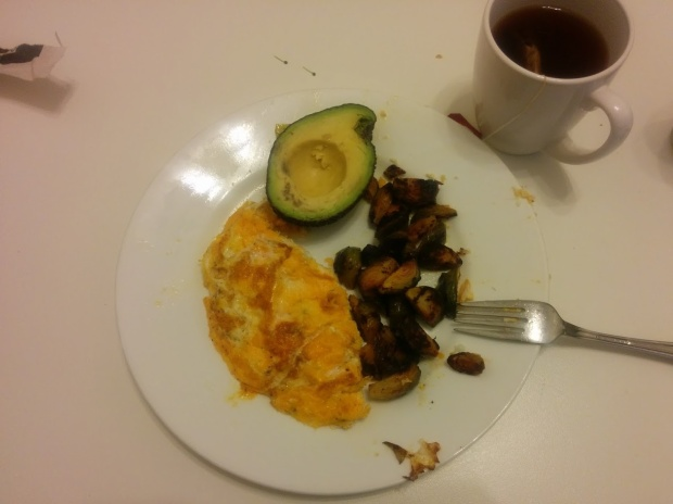 Fried eggs, leftover Brussels sprouts, avocado